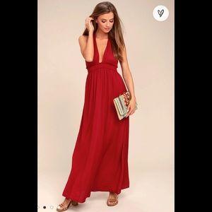 NWOT Lulu's Burgundy Halter Backless Maxi Dress